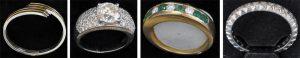 Weitere Schmuckstücke (v. l.): Armreif aus 750er Weiß- und Gelbgold; Ring aus 750er Weißgold mit Solitär; Gelbgoldring mit Saphiren und Brillanten; Ring aus 750er Weißgold mit Brillanten