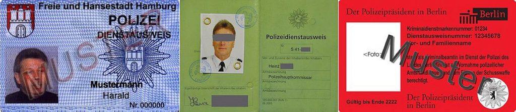 Die reinste Farbpalette: Polizeiausweise aus (von links): Hamburg, Niedersachsen und Berlin.