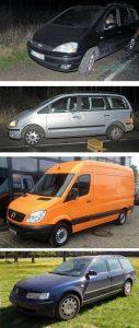 Tatfahrzeuge (v. o.): Ford Galaxy in schwarz und silber, Vergleichsfahrzeuge des Mercedes Transporter und des VW Passat