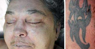 Die unbekannte Frau hatte eine Tätowierung im Nacken (r.)